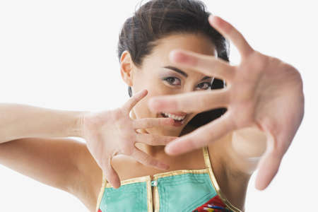 devilment: Mixed race woman sticking hand out