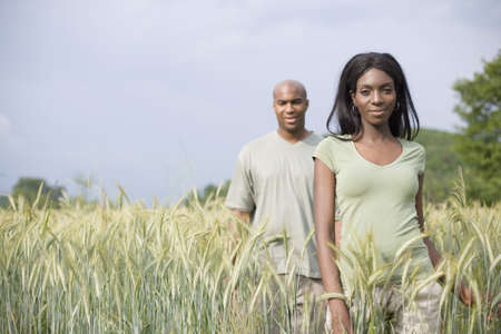 bald men: African couple in remote field