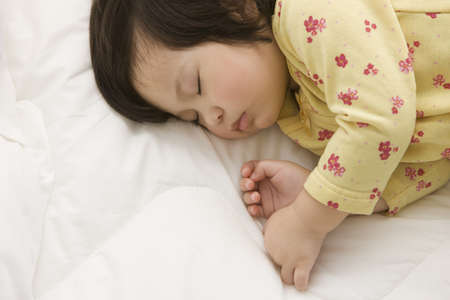 slumbering: Mixed race girl sleeping