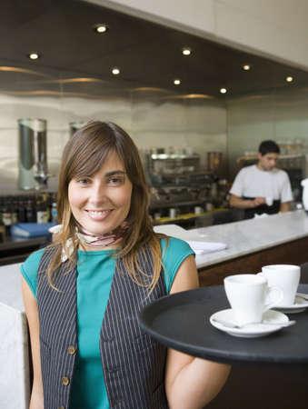 profile measurement: Hispanic waitress at coffee shop