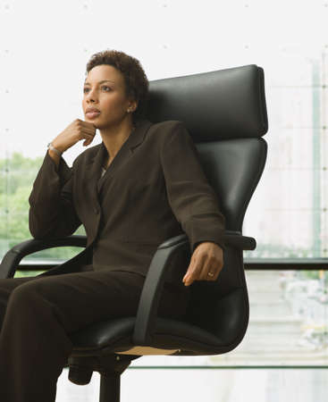 poppa: African American businesswoman sitting in chair