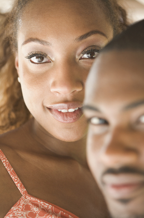 Close up of African American couples faces