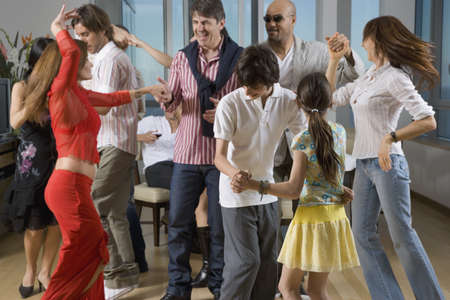 people partying: Multi-ethnic friends dancing at party