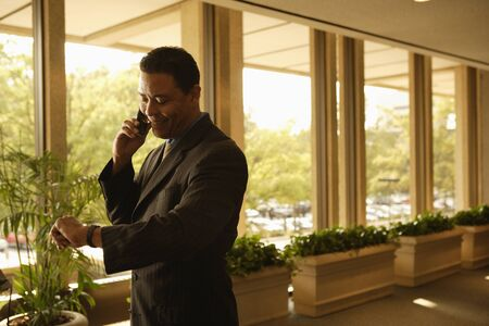 telecommuter: Hispanic businessman talking on cell phone