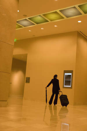 jamaican ethnicity: African businesswoman walking with suitcase through lobby