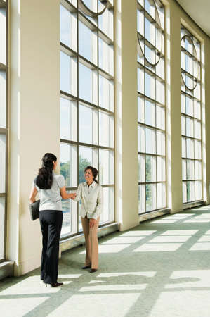 office lobby: Businesswomen shaking hands in office lobby LANG_EVOIMAGES