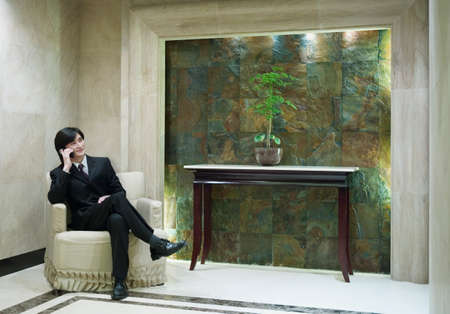 chirpy: Businessman sitting on a couch talking on a mobile phone, Beijing , China