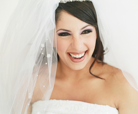 Portrait of a young woman wearing bridal outfit