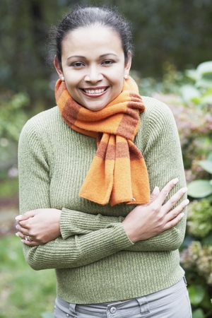 Young woman wearing a scarf outdoors