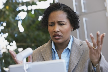 African American businesswoman with laptop Imagens