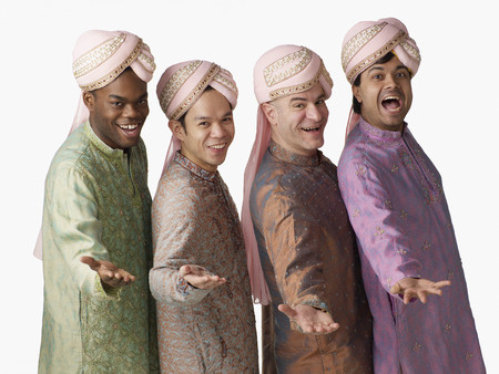 Multi-ethnic men in traditional Indian clothing