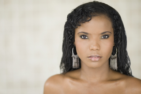 Panamanian woman looking serious Stock Photo