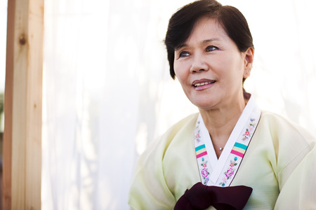 Korean woman in traditional clothing Stock Photo