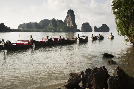 Thai boats moored in ocean 版權商用圖片