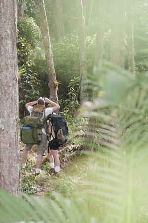 Hispanic couple hiking together Stock Photo