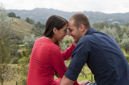 Affectionate Hispanic couple Stock Photo