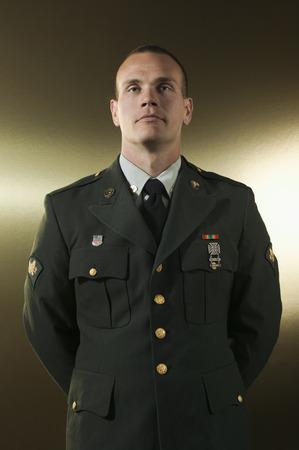 Caucasian soldier in military uniform Stock Photo