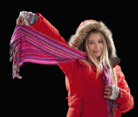 Caucasian woman in coat and scarf