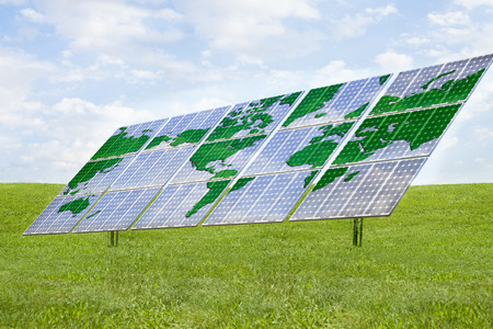Solar panels with world map design