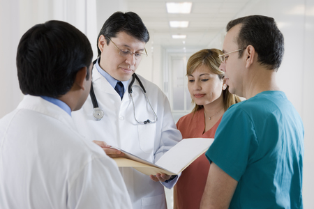 Hispanic medical professionals in hospital