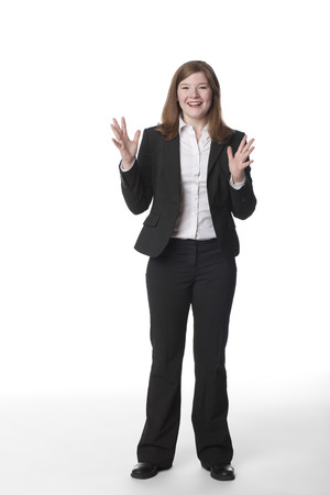 Caucasian businesswoman with arms raised Stock Photo - 107972208