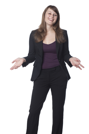 Smiling Caucasian businesswoman with arms outstretched Stock Photo