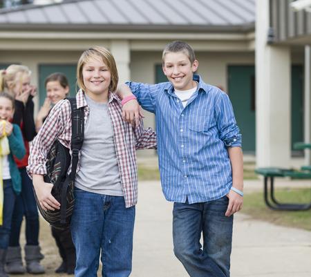 Smiling Caucasian school boys