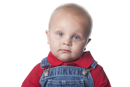 Serious Caucasian baby boy