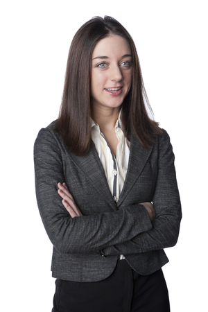 Caucasian businesswoman with arms crossed