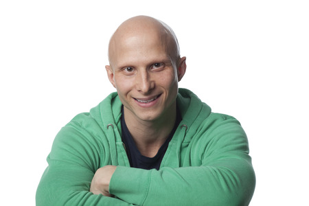 Smiling, bald Caucasian man