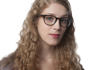 Serious Caucasian woman in eyeglasses