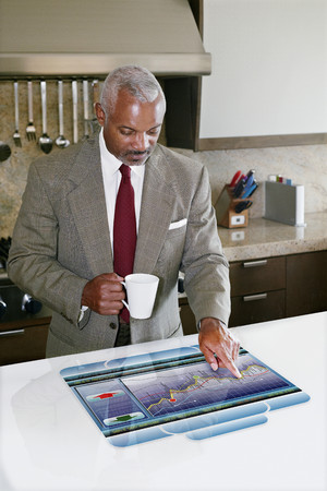 Businessman using computer in table Banco de Imagens