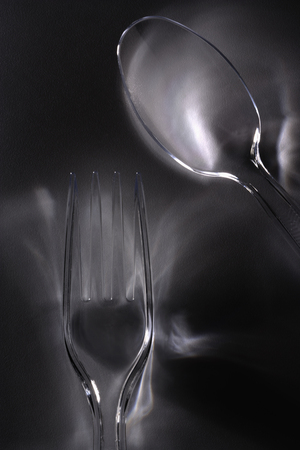 Close up of plastic flatware