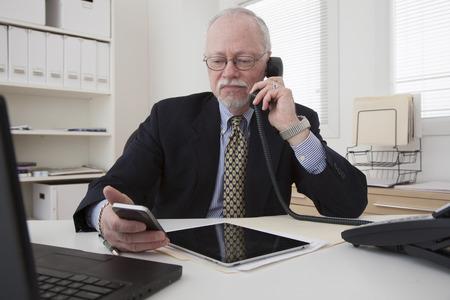 Caucasian businessman working in office