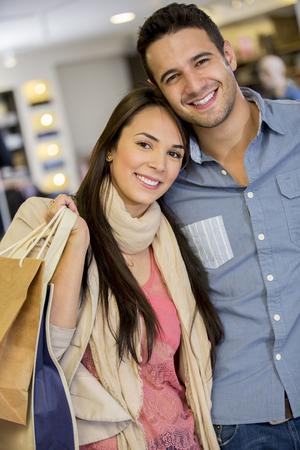 Hispanic couple shopping together