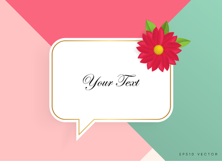 Text box with beautiful colorful flowers illustration.
