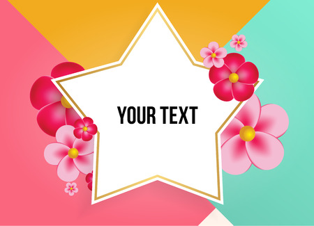 Textbox with beautiful colorful flowers. Vector Illustration Stock Illustratie