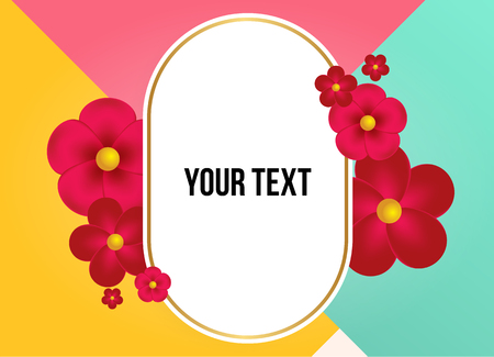 Textbox with beautiful colorful flowers. Vector Illustration Illustration