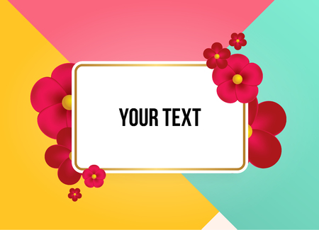 Textbox with beautiful colorful flowers. Vector Illustration Ilustração