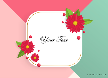 Textbox with beautiful colorful flowers. Vector Illustration Vettoriali