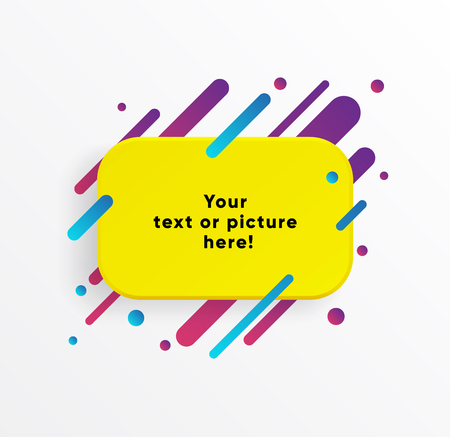 Yellow abstract Textbox shape with trendy neon lines and circles. Vector background.