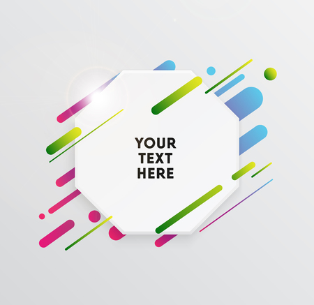 Vector background with paper card and abstract colorful shapes. Trendy neon lines and circles wallpaper in a modern material design style.