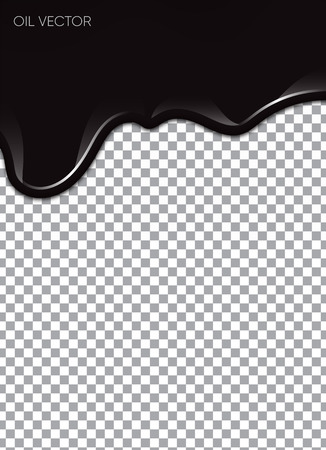Realistic black oil isolated on transparent background. Vector illustration.