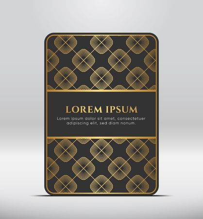 Elegant premium look. Dark gray card shape with golden pattern. Vector illustration.