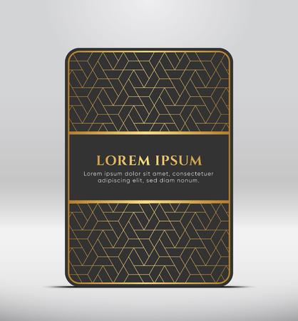 Elegant premium look. Dark gray card shape with golden pattern. Vector illustration.