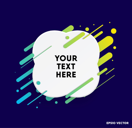 Modern text box with colorful stripes and dark blue background. Ideal for motivational quotations. Vector illustration.