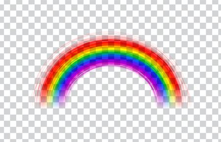 Transparent rainbow. Vector illustration. Realistic raibow on transparent background.