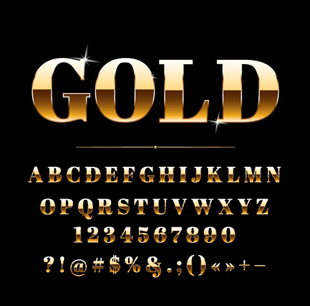 High quality gold effect on letters, numbers and symbols Illusztráció