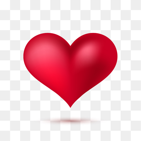 Soft red heart with transparent background. Vector illustration 向量圖像