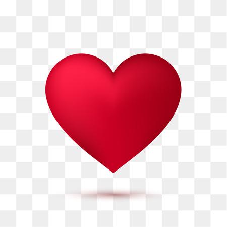 Soft red heart with transparent background. Vector illustration Illustration